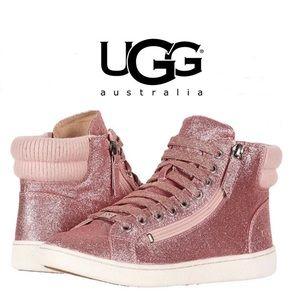Uggs W Olive Pink Glitter High Top Sneaker NIB! 9
